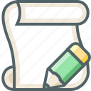paper, pencil, script icon