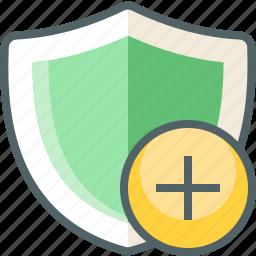 add, shield icon