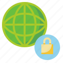globe, network, protection, security, shield icon