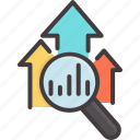 arrow, business, concept, graph, growth, magnifying glass, success icon