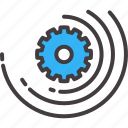 circle, cogwheel, connection, engineering, gear, speed, strategy icon