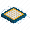 computer, electronic, microchip, microprocessor, processor, screen, technology icon