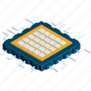communication, computer, electronics, microchip, microprocessor, processor chip, technology icon