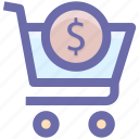 .svg, cart, dollar, dollar sign, shopping, shopping cart, sign icon