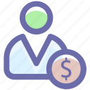 dollar, person, money, man, user, dollar sign icon