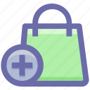 hand bag, bag, shopping bag, gift bag, plus sign, money bag icon