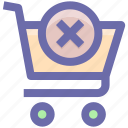 shopping, shopping cart, sign, cart, cross sign, cross