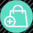.svg, bag, gift bag, hand bag, money bag, plus sign, shopping bag icon