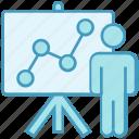 board, business, chart, data analytics, presentation, statistics, user icon
