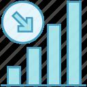 arrow, data analytics, decrease, decreasing, graph, statistics icon