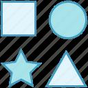 circle, data analytics, geometric, square, star, triangle icon