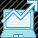 arrow, chart, data, data analytics, growth, laptop, point icon