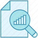 analytics, data analytics, diagram, document, graph, magnifier, scan icon