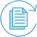 arrow, business, data analytics, documents, pages, sync icon