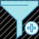 advanced filter, data analytics, data funnel, database, filter, plus sign, server icon