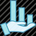data analytics, graph, growth, hand, hand gesture, report icon