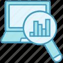 analytics, case study, chart, data analytics, graph, laptop, magnifier icon