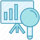 board, data analytics, find, lecture, magnifier, scan icon