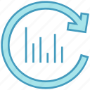 bar chart, data analytics, data presentation, graph, refresh graph, sync, update graph icon