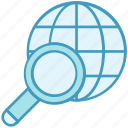 data analytics, find, global, magnifier, search, world icon