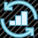 analysis graph, arrows, data analytics, diagram, graph, sync icon