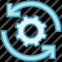 arrows, data analytics, gear, options, setting, sync icon