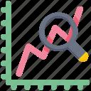 data analytics, graph, magnifier, seo graph, trend icon