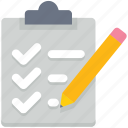 checklist, clipboard, data analytics, document, notepad, page, pencil icon
