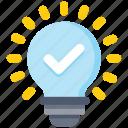 bulb, check, creative, data analytics, idea, light, tick