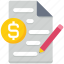 business, data analytics, document, dollar, pencil, sign, text icon