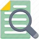 data analytics, document, magnifier, paper, scan file, search, view icon