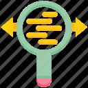 arrows, data analytics, graph, magnifier, scan