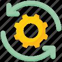 arrows, data analytics, gear, options, setting, sync