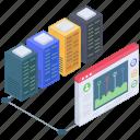 data hosting, data network, data processing, data storage, server network icon