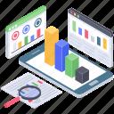 business chart analysis, online data analysis, report analysis, report exploration, report monitoring icon