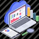 cloud analytics, cloud data monitoring, data visualization, cloud technology, cloud computing icon