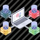 data architecture, data exchange, data hosting, data storage, data transformation icon
