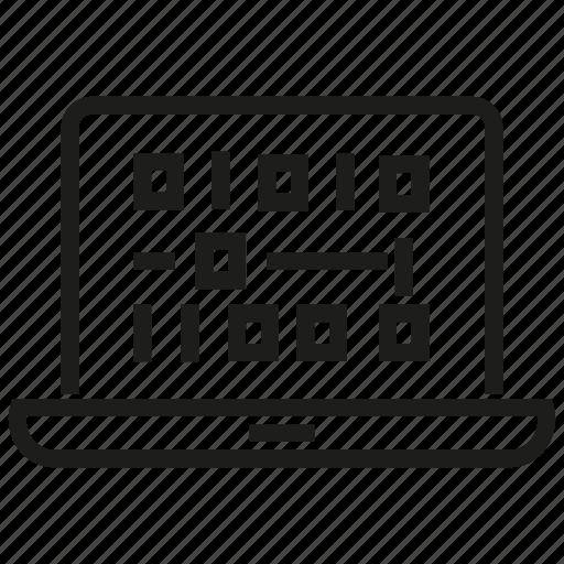 analytics, binary, computer, data, laptop icon