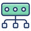 data flow diagram, data sitemap, data structure, flowchart, organization chart icon