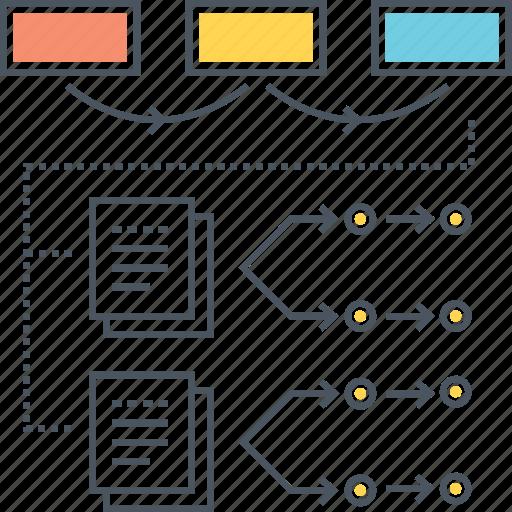 algorithms, flowchart, hierarchy, layout, scheme, sitemap, workflow icon