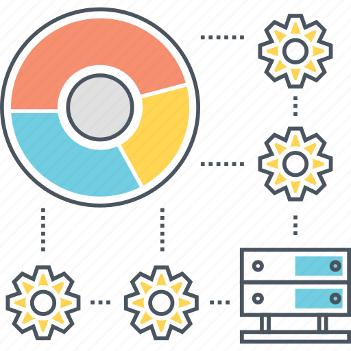 centre, chart, data, database, pie, server, storage icon