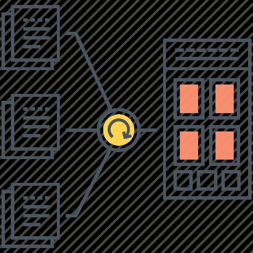 data, documents, presentation, transformation icon