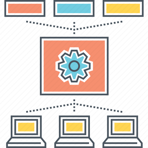 Warehouse, data, communication, connection, computer, center, network icon