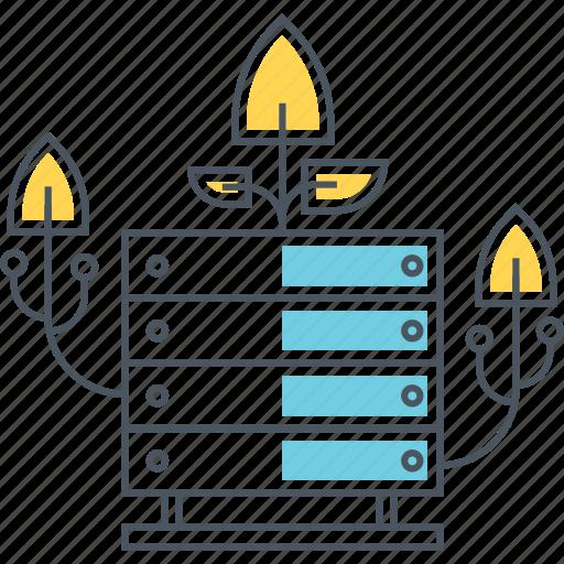 analytics, data, database, growing, growth, hosting, server icon