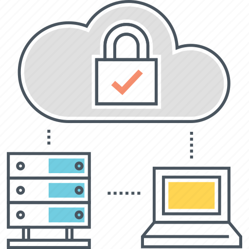architecture, backup, cloud, computing, hosting, laptop, secure icon