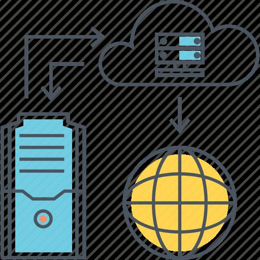 architecture, cloud, computing, hosting, internet, online, web icon