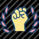 confidence, hand, inspiration, labor day, motivation icon