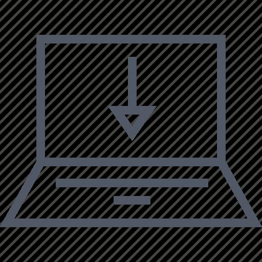 communication, download, internet, laptop icon