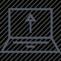 communication, internet, laptop, upload icon