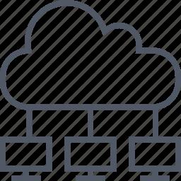 cloud, communication, computers, internet, server icon